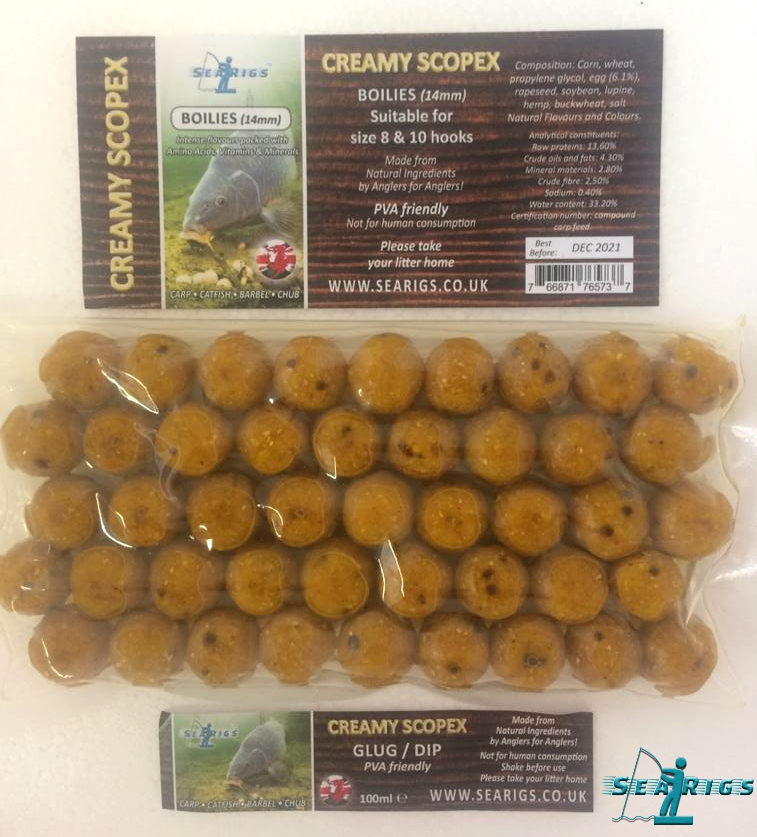 "01 CREAMY  SCOPEX READY GLUGGED ""AMINO BOOSTED"" BOILIES - 14mm PVA FRIENDLY"