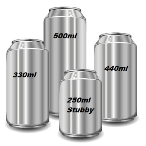 192 x 250ml Stubby Beer cans 53mm Standard 202 lids