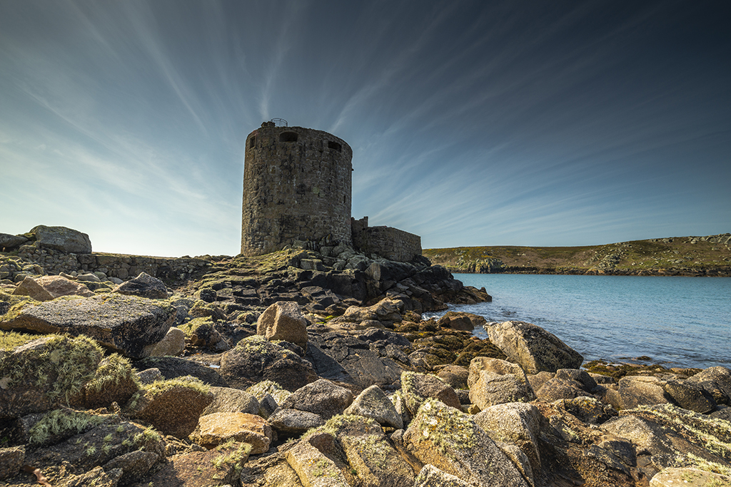 Cromwell's Castle guards the mouth of New Grimbsy Sound. Stock Image ID: 2740