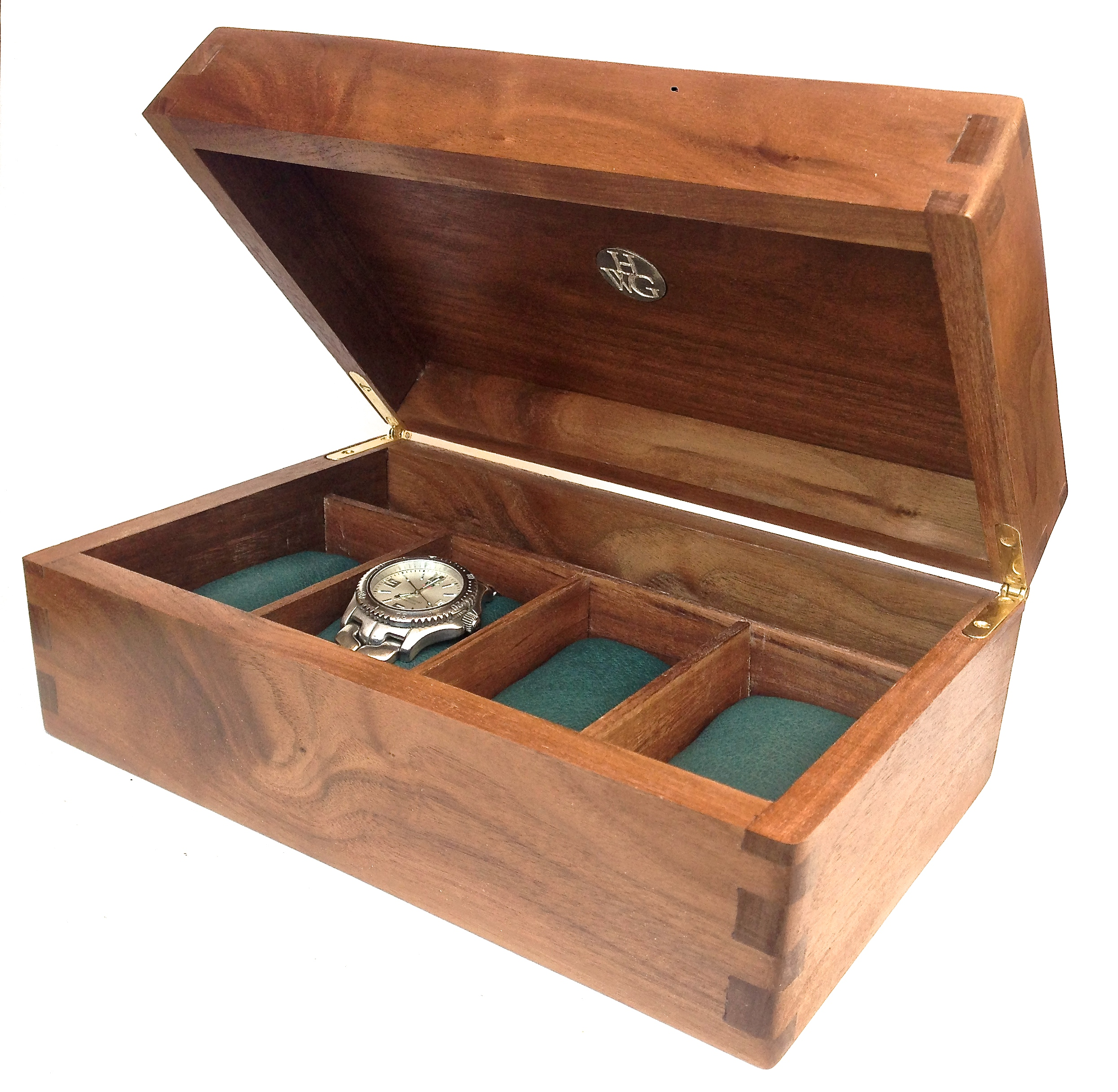 Watch box with pillows, customised in wood/interior, add silver plaque   Handmade, classic , Digby