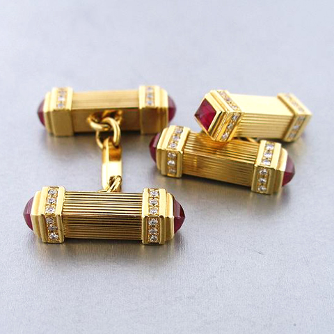 18kt gold & ruby cufflinks