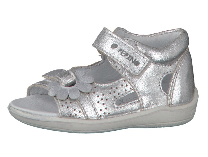 Silver open toe sandals by Pepino for baby girls