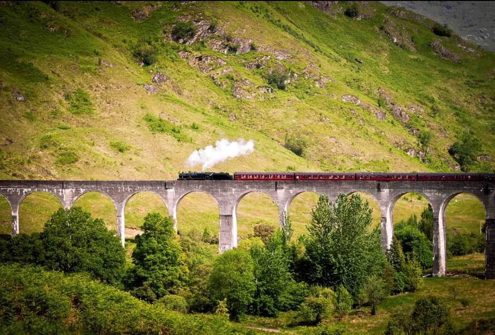 Glenfinnan Viaduct and The Jacobite Express.