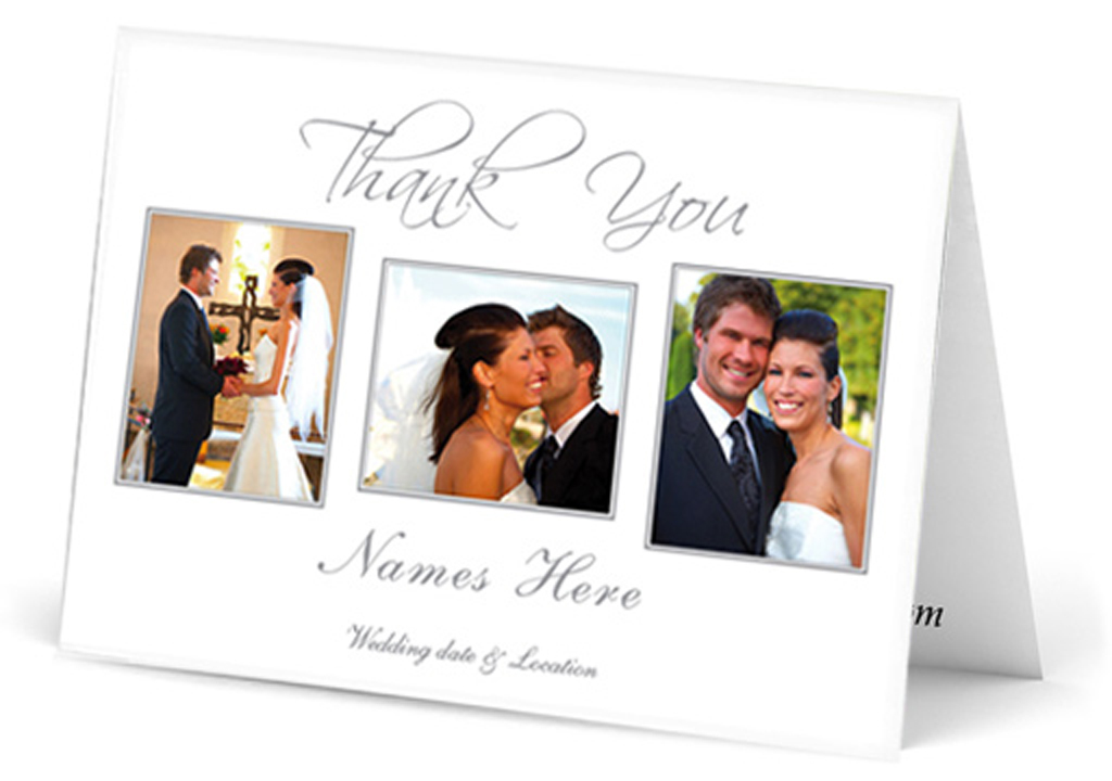Landscape three photo wedding thank you card