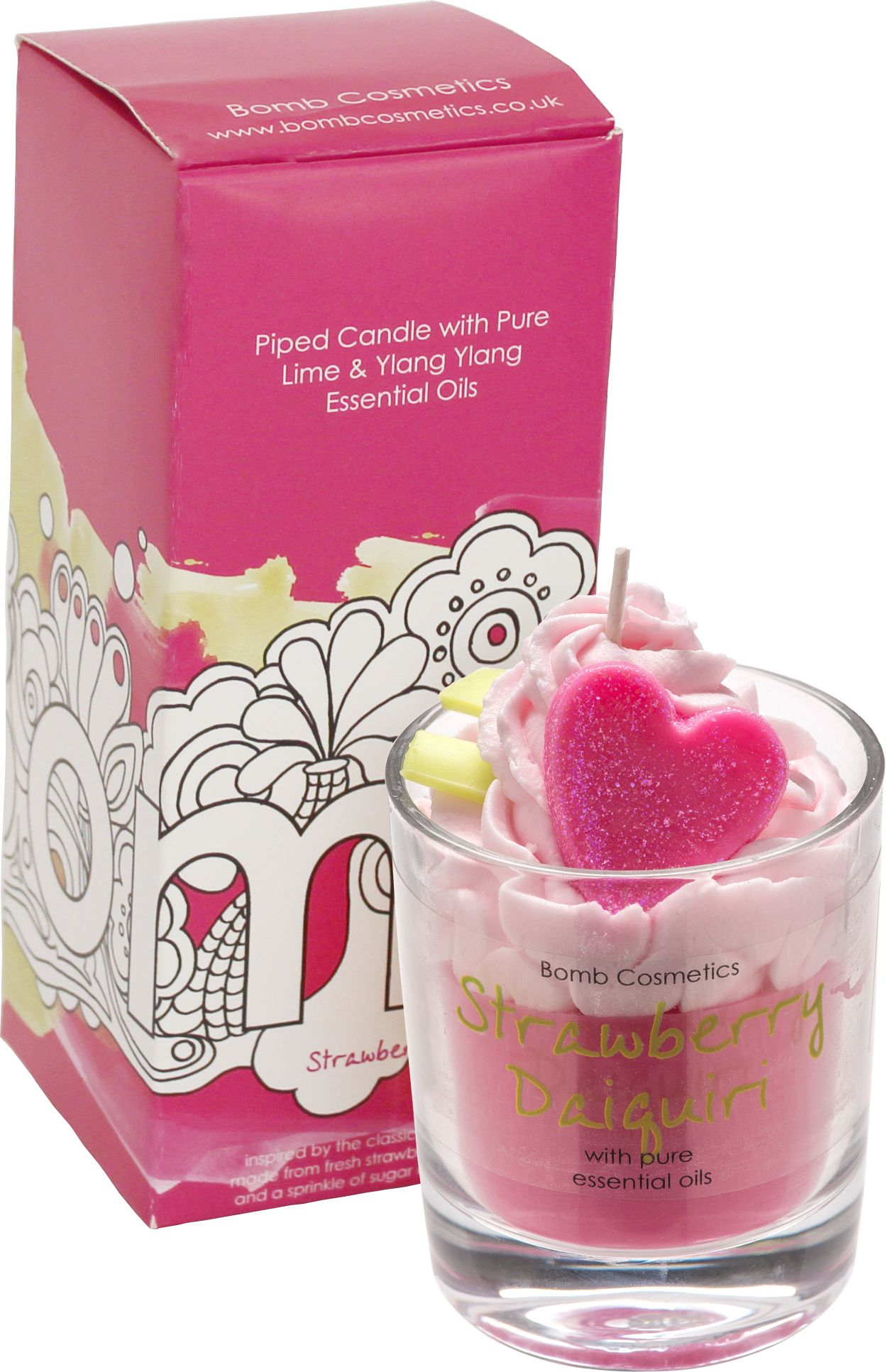 Strawberry Daiquiri Piped Glass Candle by Bomb Cosmetics