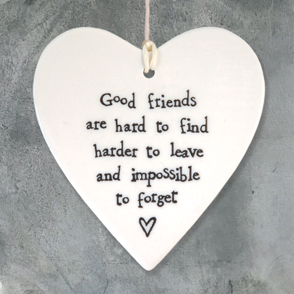 East Of India 'Good Friends' Porcelain Hanging Heart