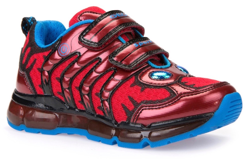 Funky red and blue toddler boy trainers