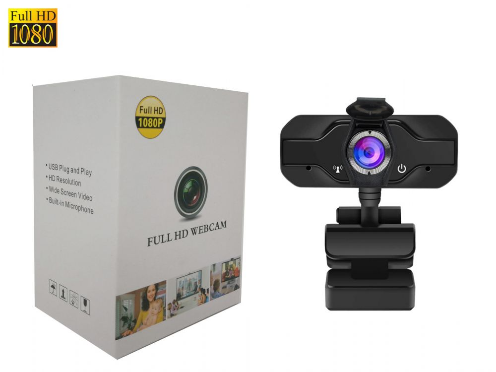 Full HD Webcam, 1080 with Microphone & Privacy Cover