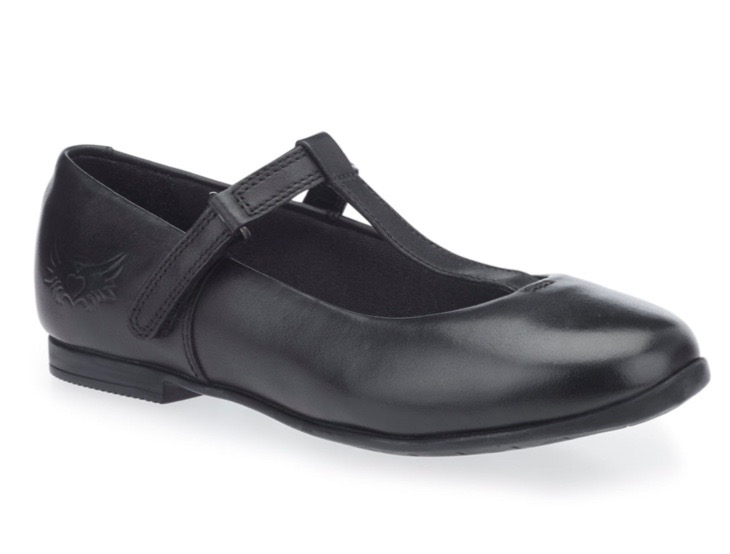 Black leather Mary Jane style school shoes for girls
