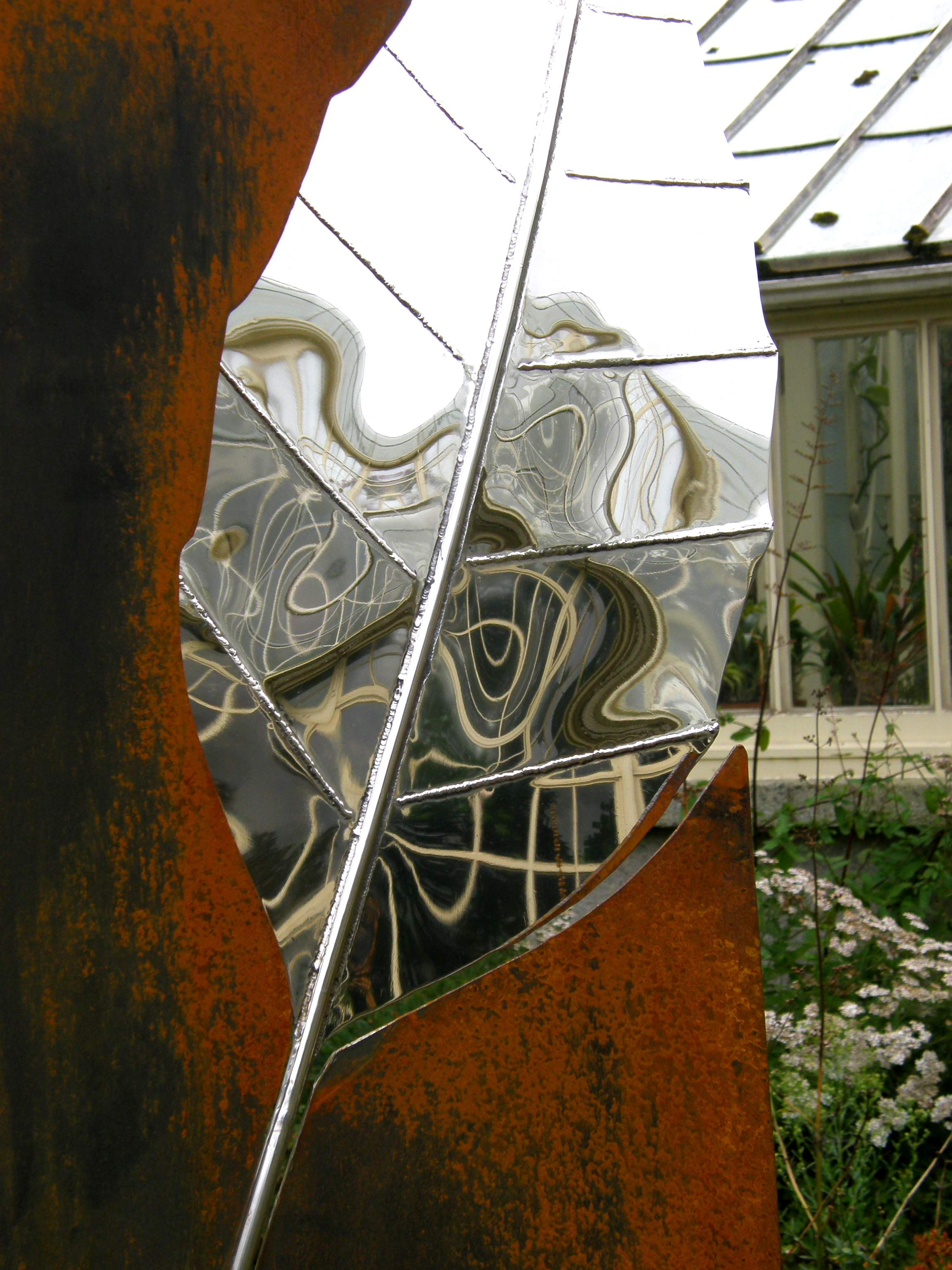 Fern House Reflections in Stainless Steel Leaf - Sculpture in Context 2019