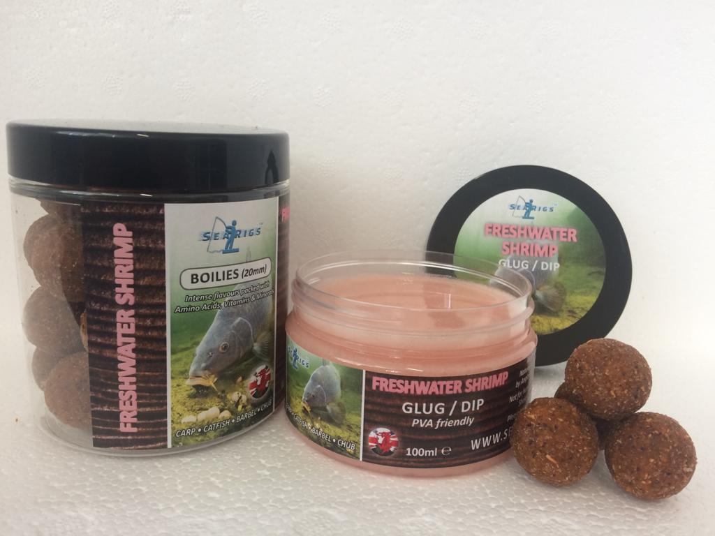 "FRESH WATER SHRIMP 20mm ""OILY BOILIES"" WITH GLUG / DIP POT"