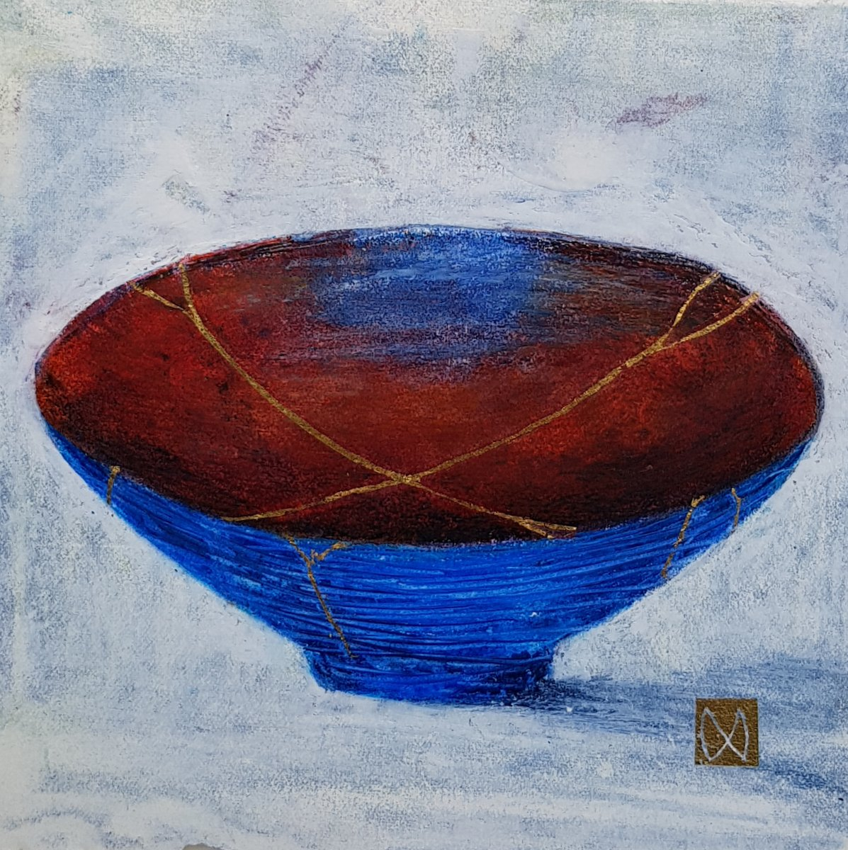 painting of Japanese kintsugi Summer tea bowl with gold by Irish artist cobalt blue sienna