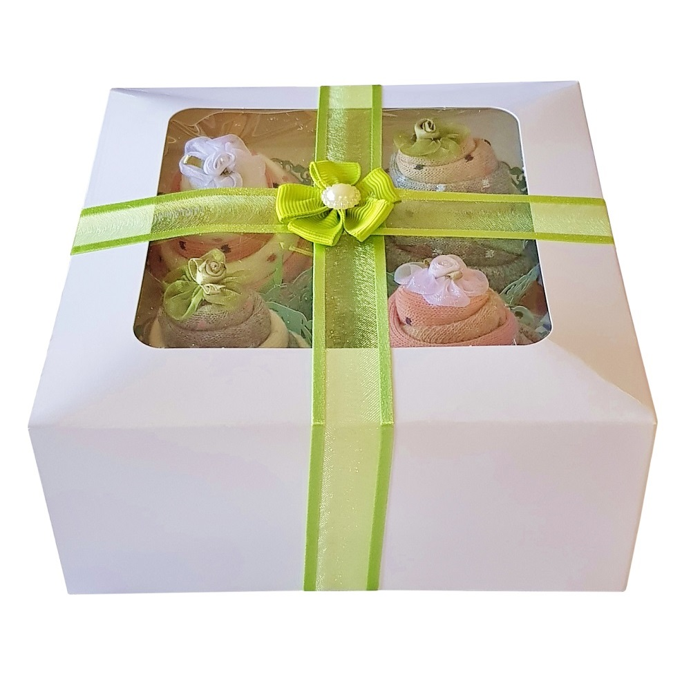 Women's Sock Cupcakes, Green Ribbon Gift Box