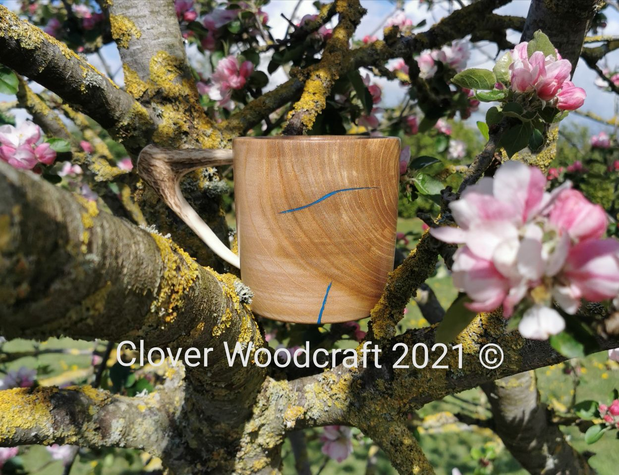 Handmade Irish Elm Wood Mug featuring Deer Antler handle.
