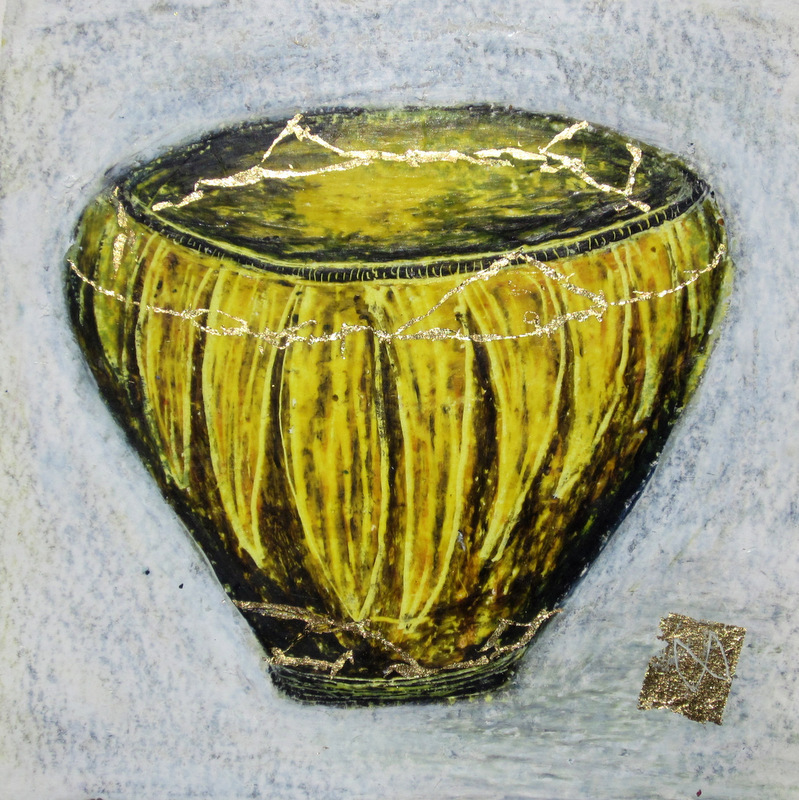painting of Japanese kintsugi tea bowl with gold by Irish artist yellow black
