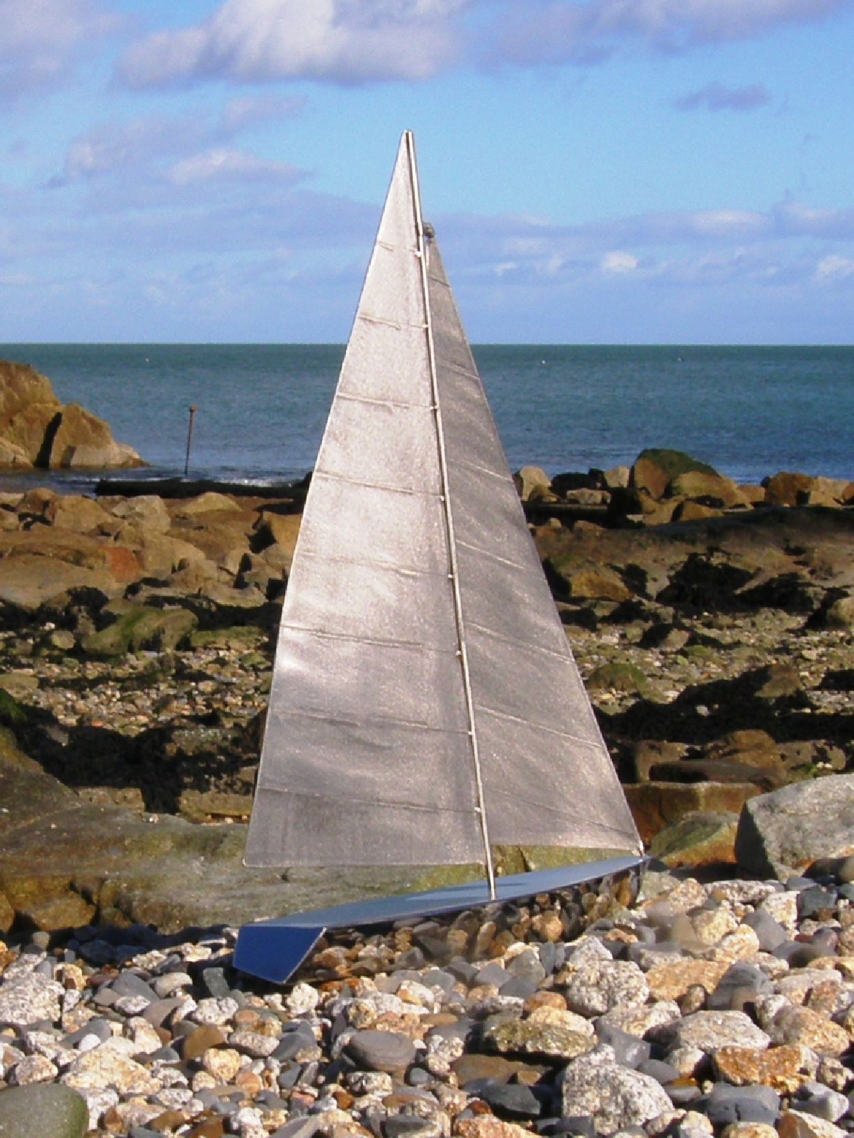 Stainless Steel Yacht Model on Starboard Tack - Handmade in Stainless Steel