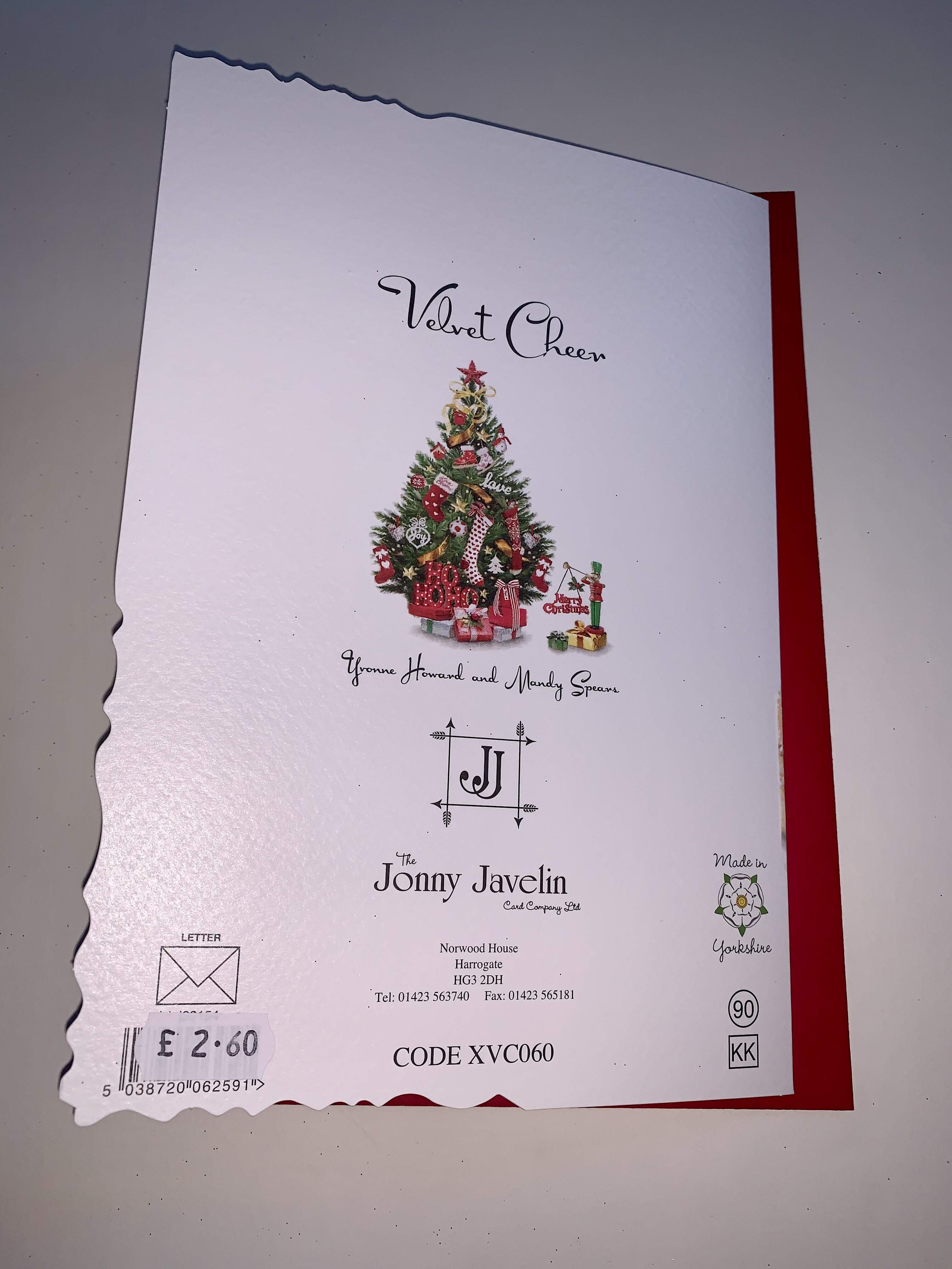 Jonny Javelin Nephew and Wife Christmas Card