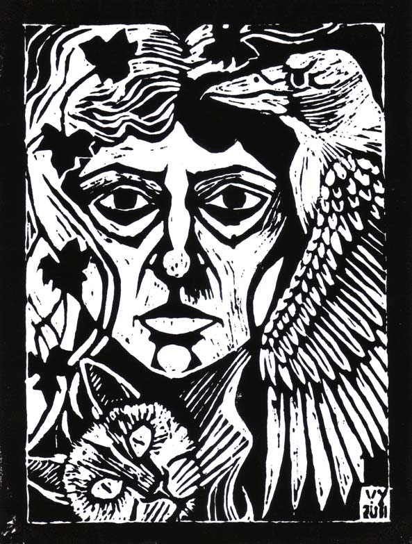 'Gertrude Reflection' lino print