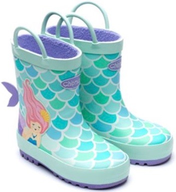 Mermaid wellies with pull on latches for young girls