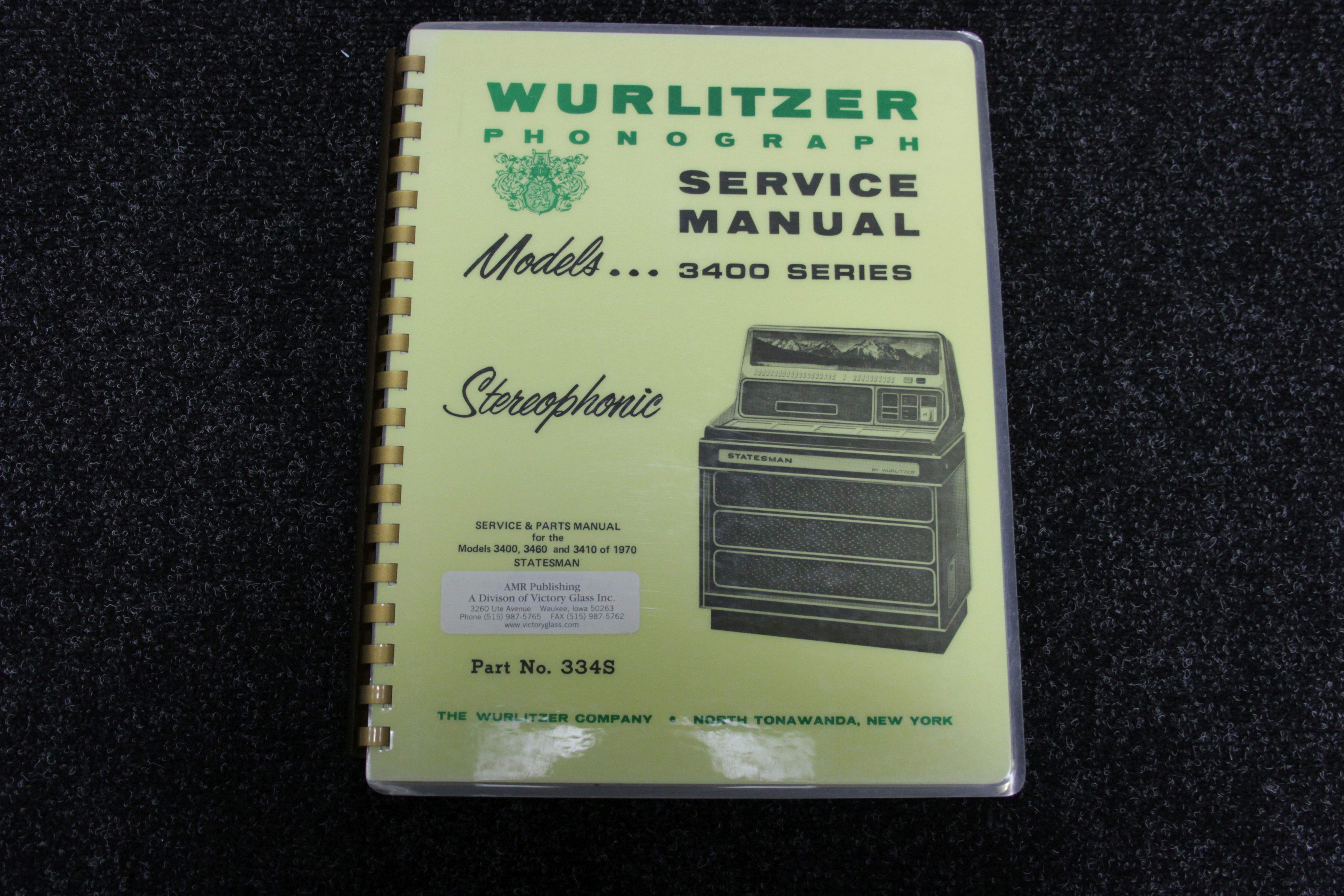 Wurlitzer Service Manual 3400 series