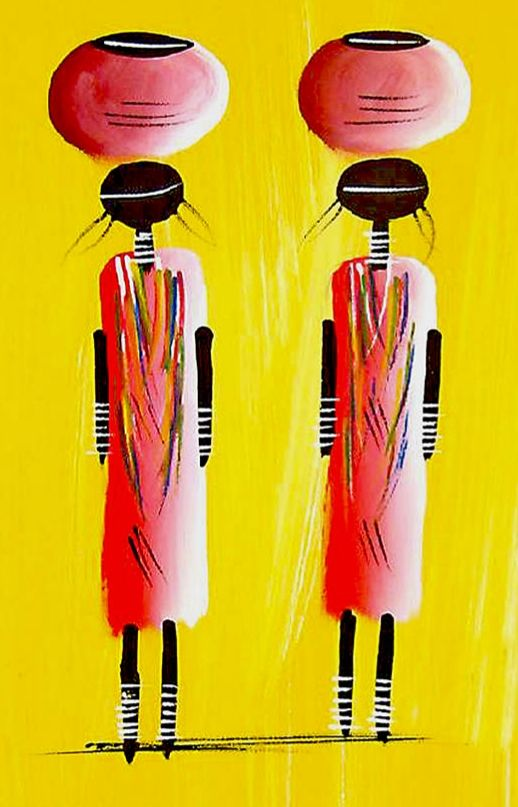 African Art Miniature Original Water Carriers 1. Small acrylic on canvas. Can be rolled into a tube for safe and easy transport.