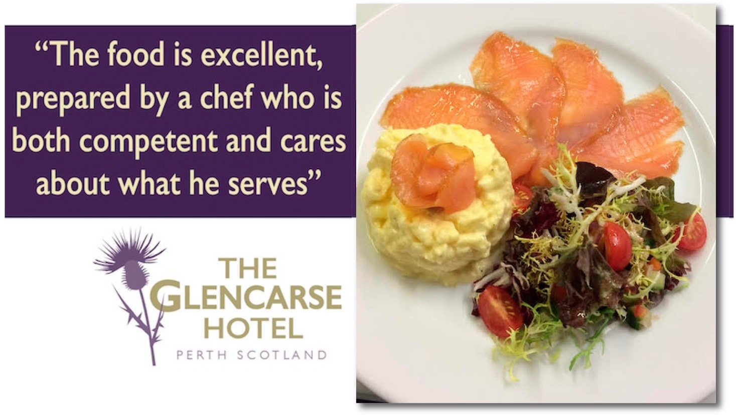 Glencarse Hotel near Perth, Scotland offers excellent lunch and evening meals