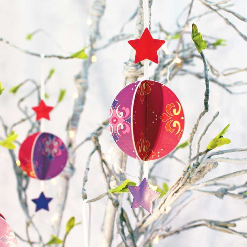 Baubles - Red/Purple Card Decorations (set of 3)