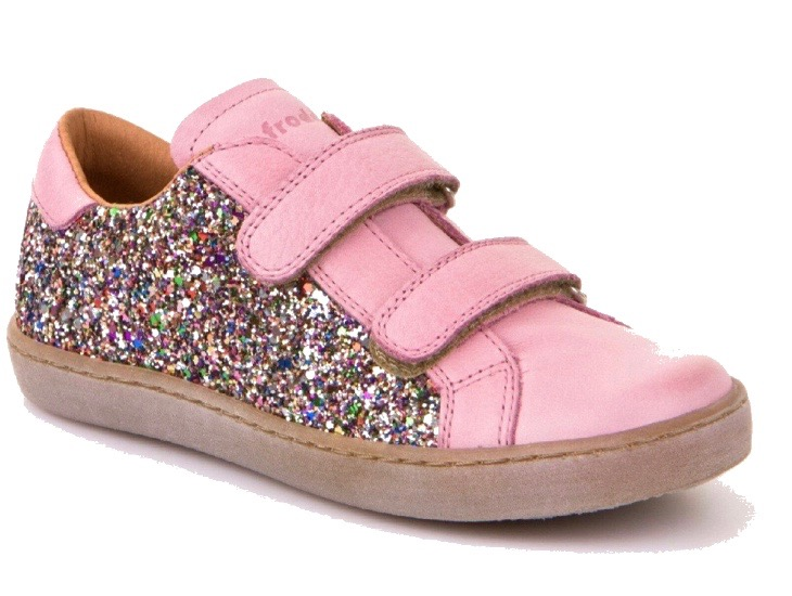 Half glitter half pink leather trainers for girls