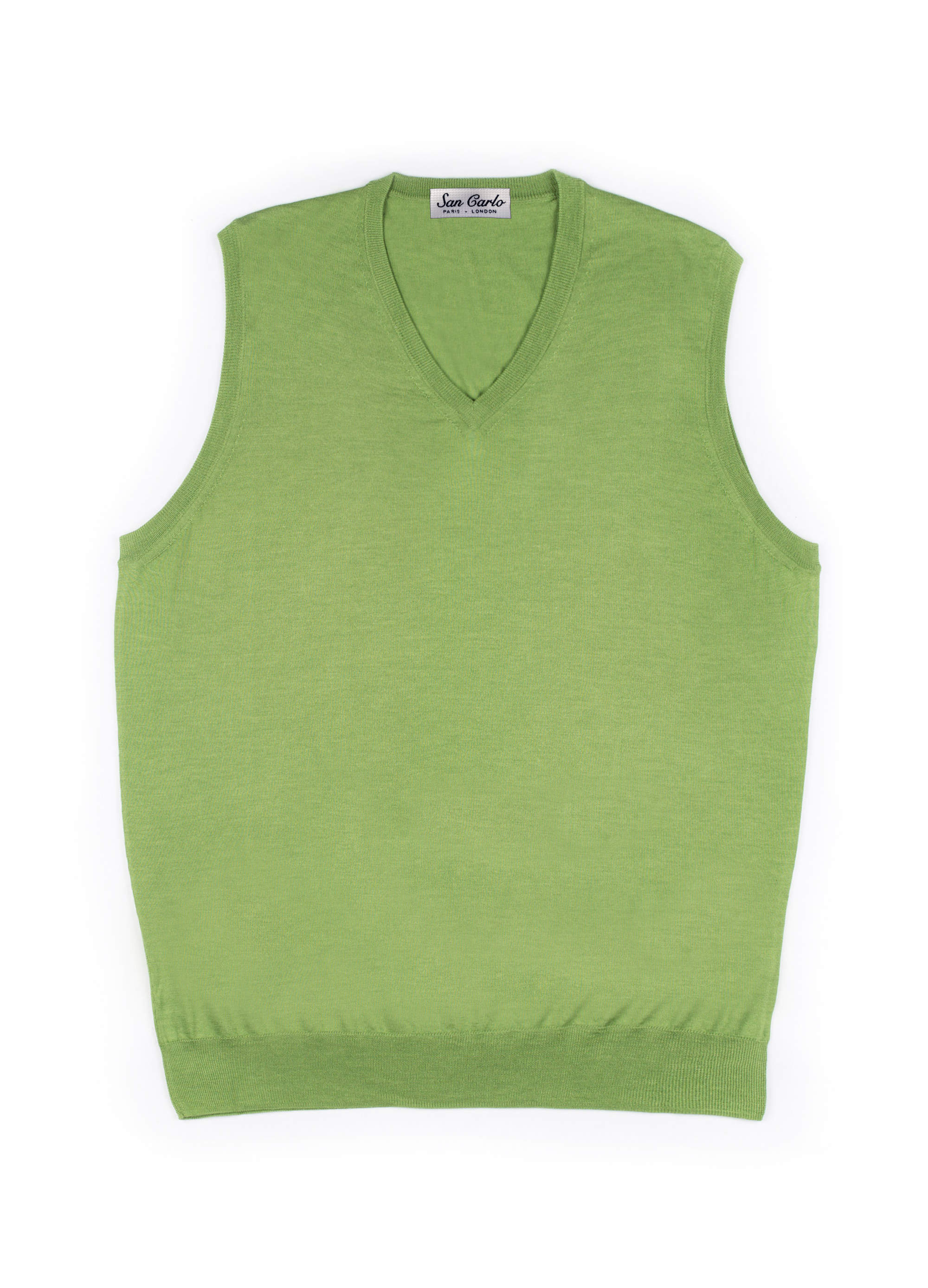 V-Neck Silk & Cashmere Vest Green 01