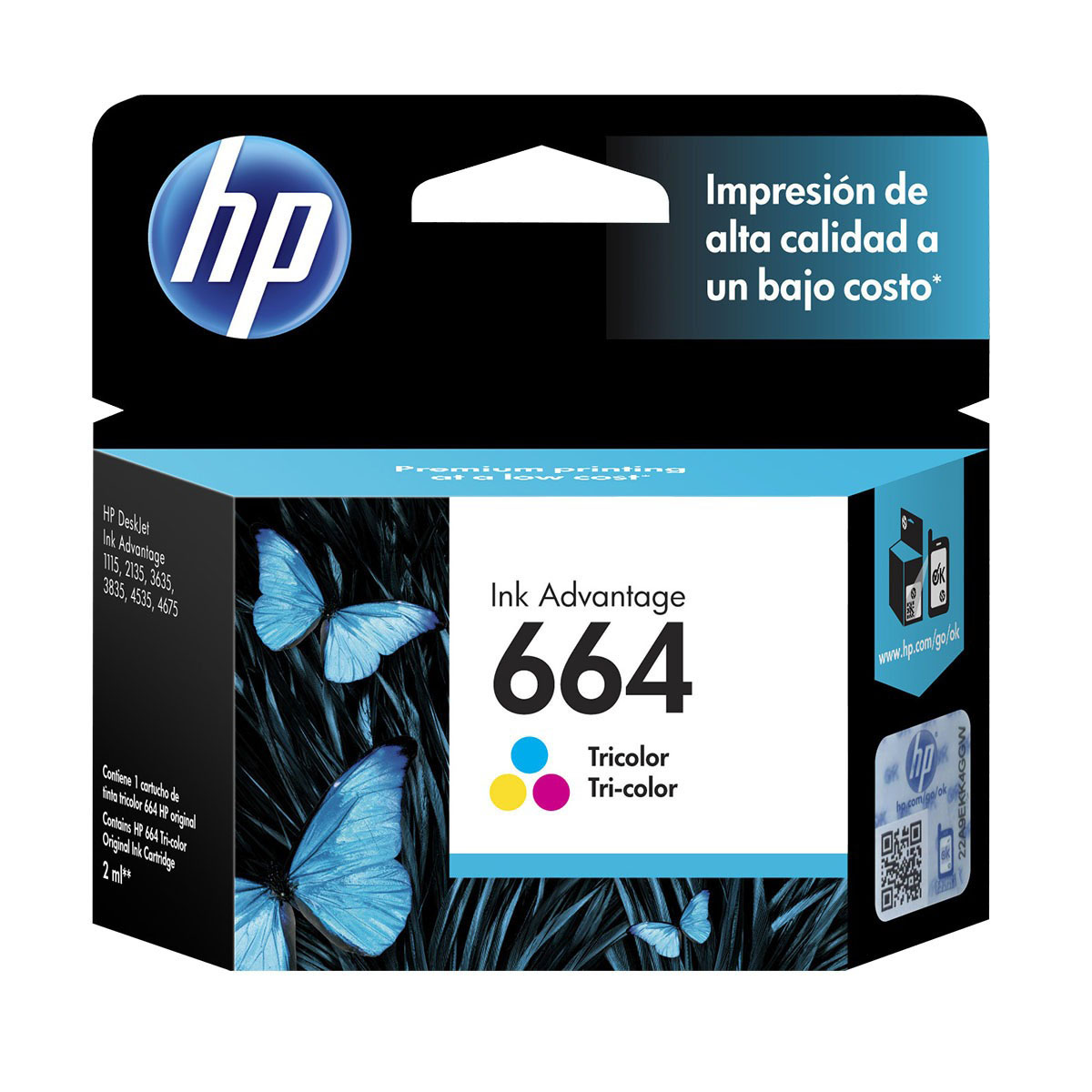 CARTUCHO HP 664 TRICOLOR, ESTANDAR