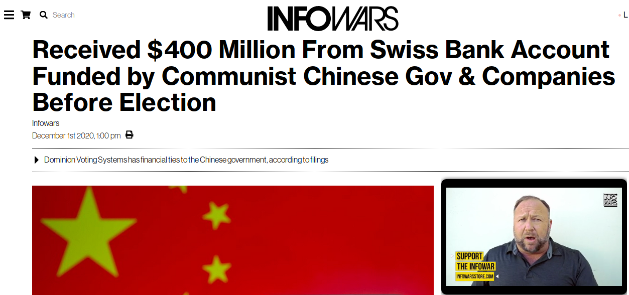 Dominion Voting Machines basically owned by China