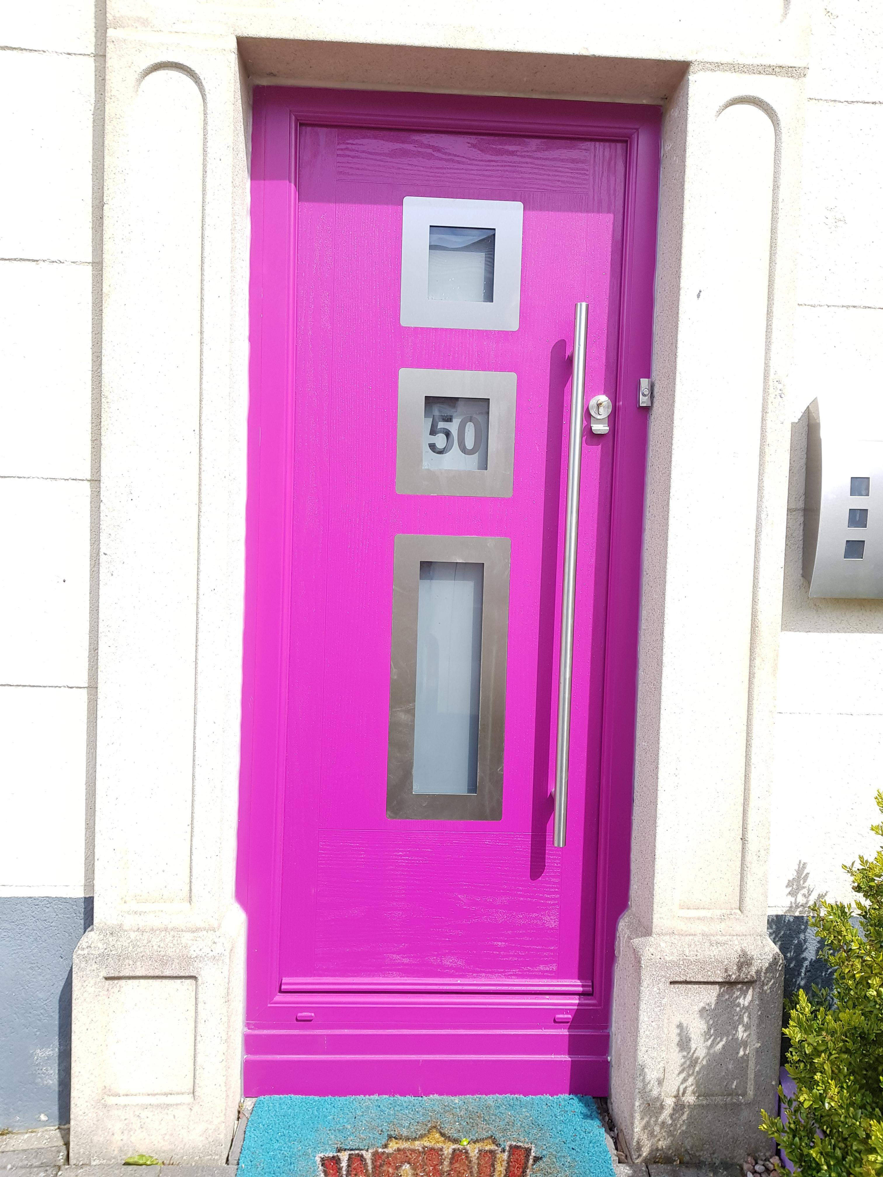 TRAFFIC PURPLE MODO COMPOSITE FRONT DOOR FITTED BY ASGARD WINDOWS IN DUBLIN 15