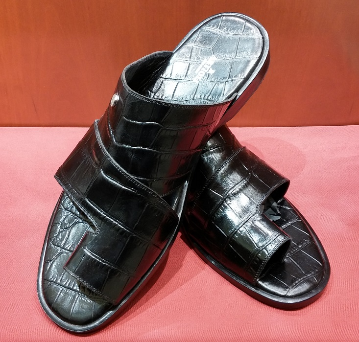 Sandal Style 55 Black Printed Leather