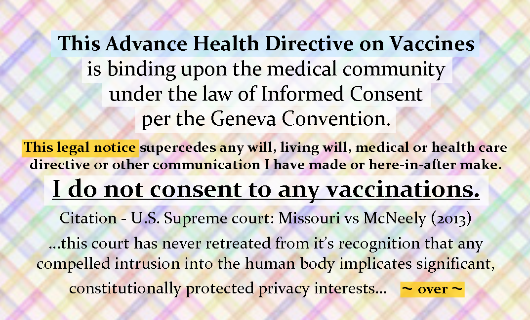 Not About Taking Any Bill Gates or Government Vaccines? Fill Out Your Advance Vaccine Directive.