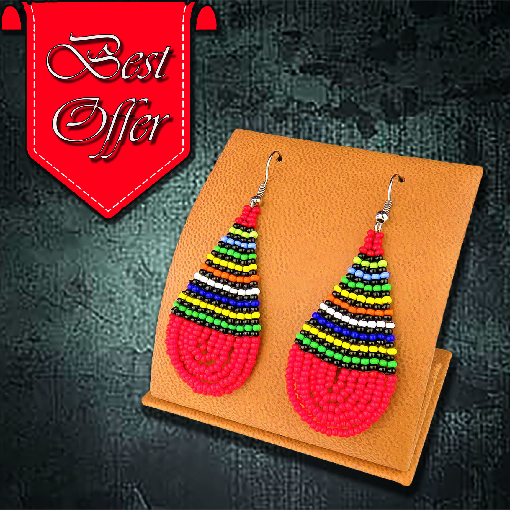 African Beaded Earrings, Teardrop (Large)