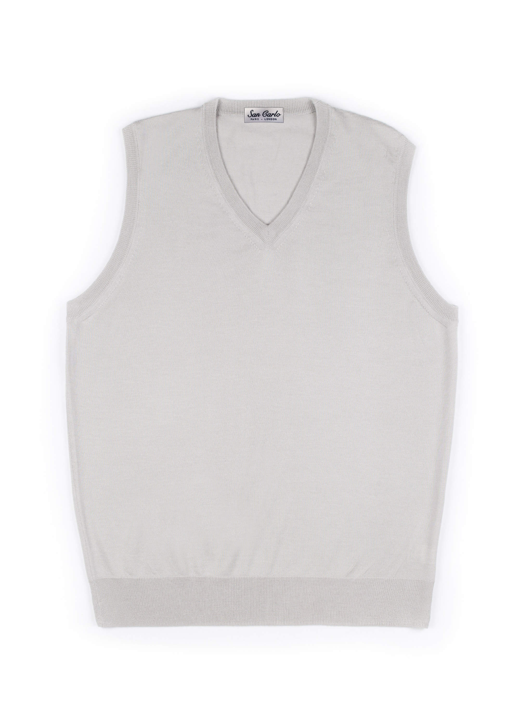 V-Neck Silk & Cashmere Vest White 01