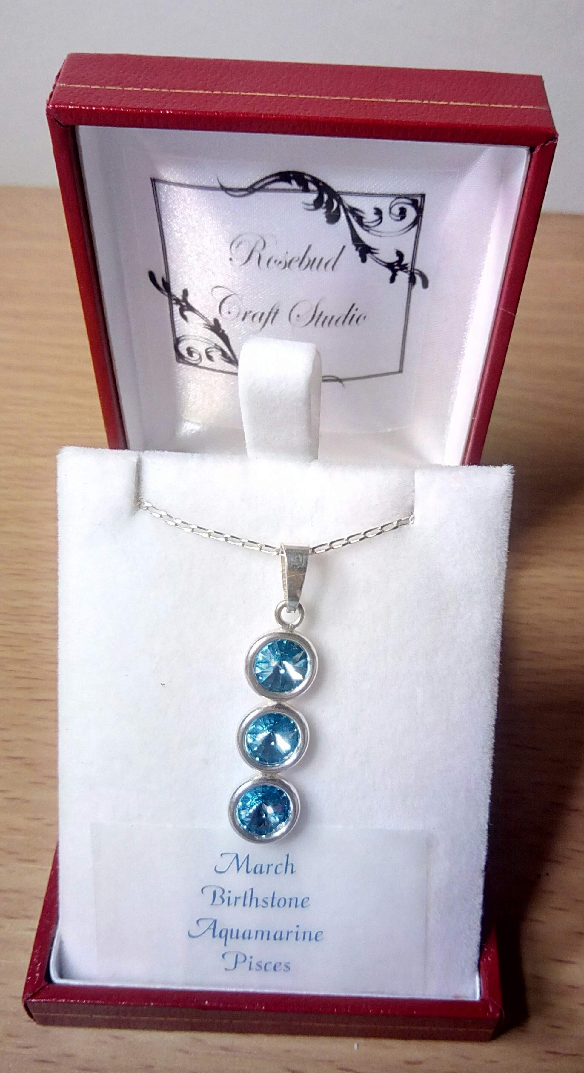 Swarovski Birthstone March or  Pisces Zodiac Pendant