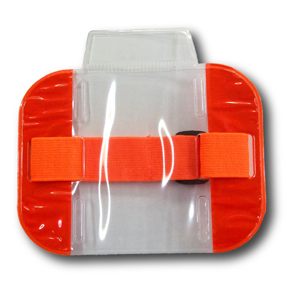 Orange SIA Security armband with adjustable elastic strap.