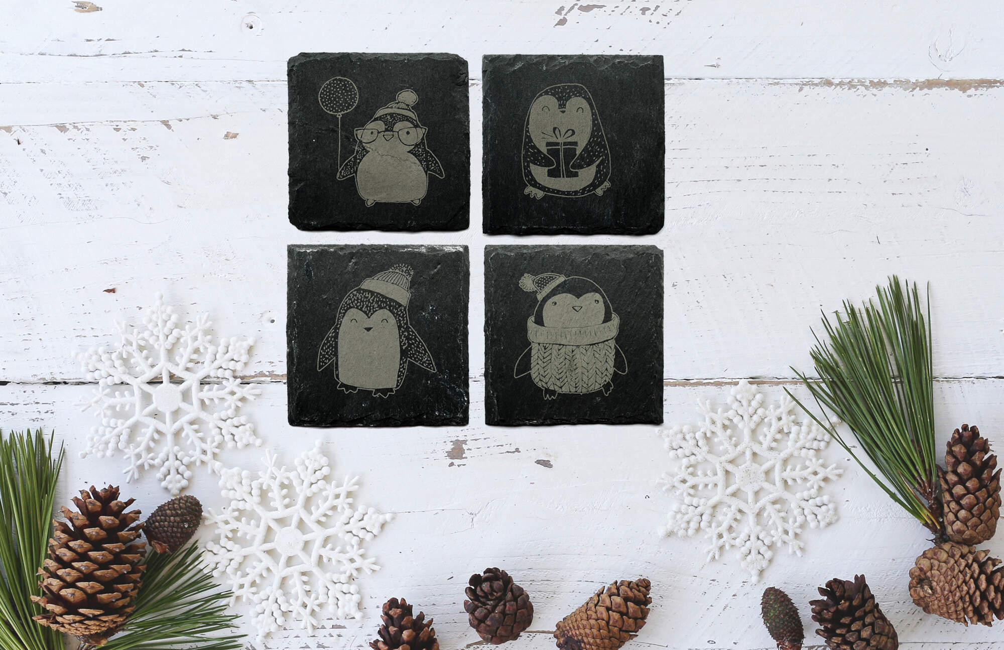 Penguin Coasters - slate