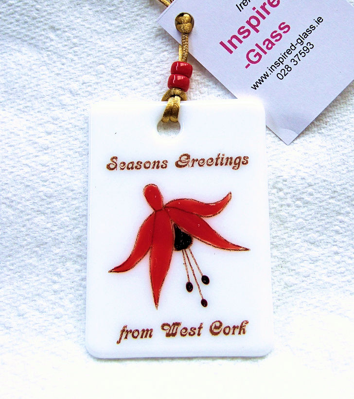 Fused-glass  Christmas Decoration - West Cork 'Fuchsia'