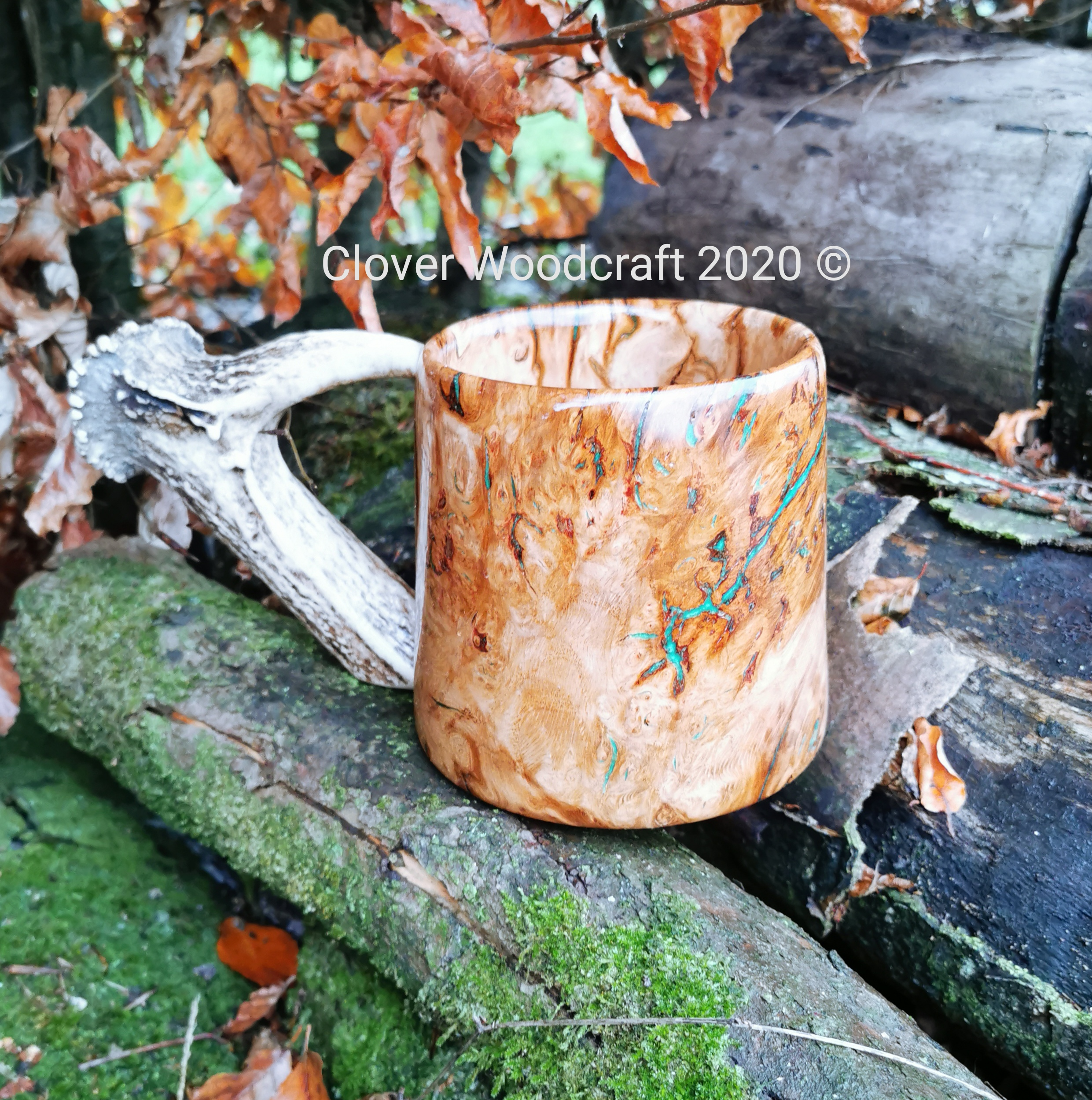Irish Red Oak Large Burl Wood Turned Tankard with Deer Antler Handle