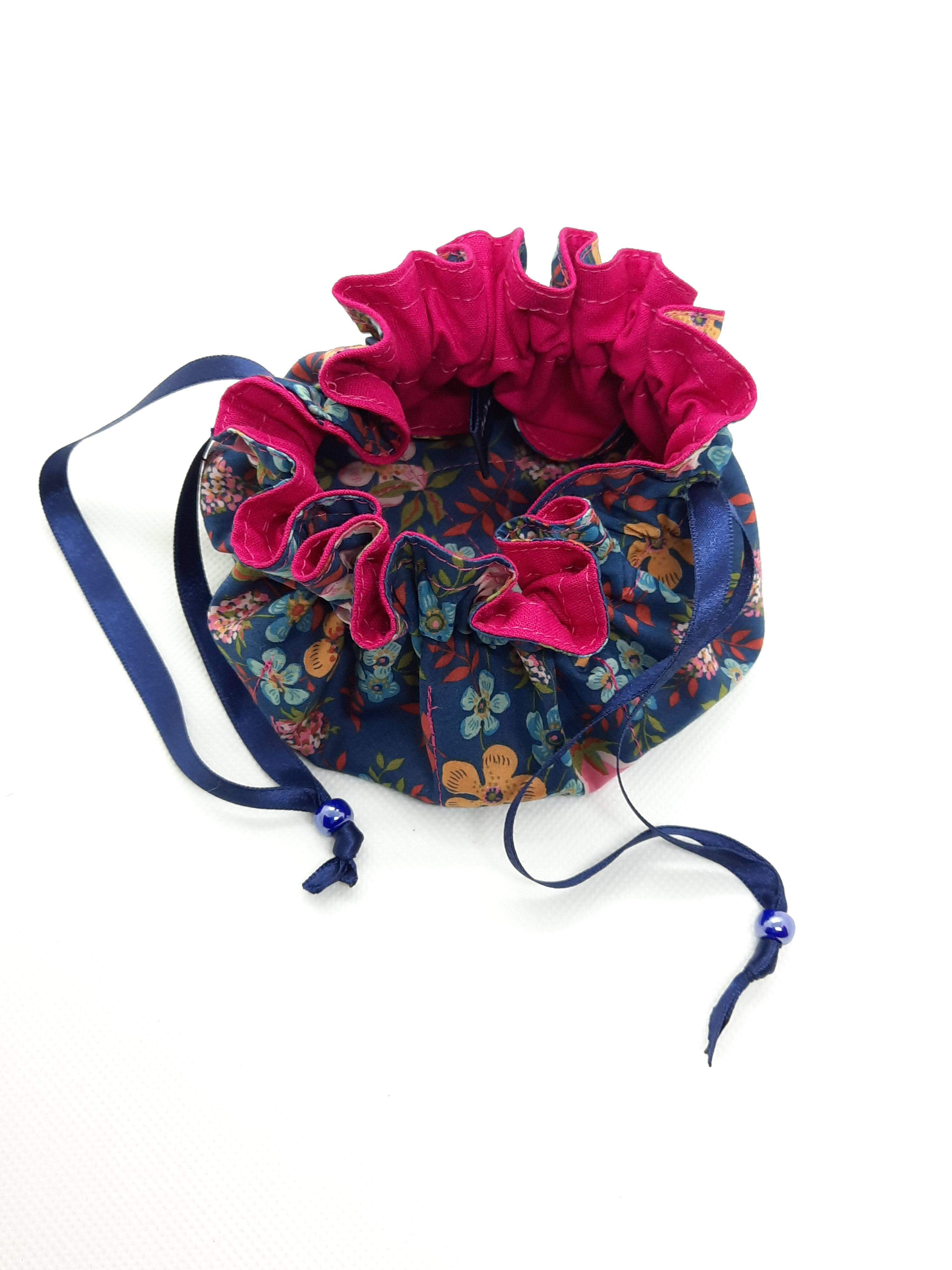 Jewellery Pouch - pink lining, blue ribbon, purple bead