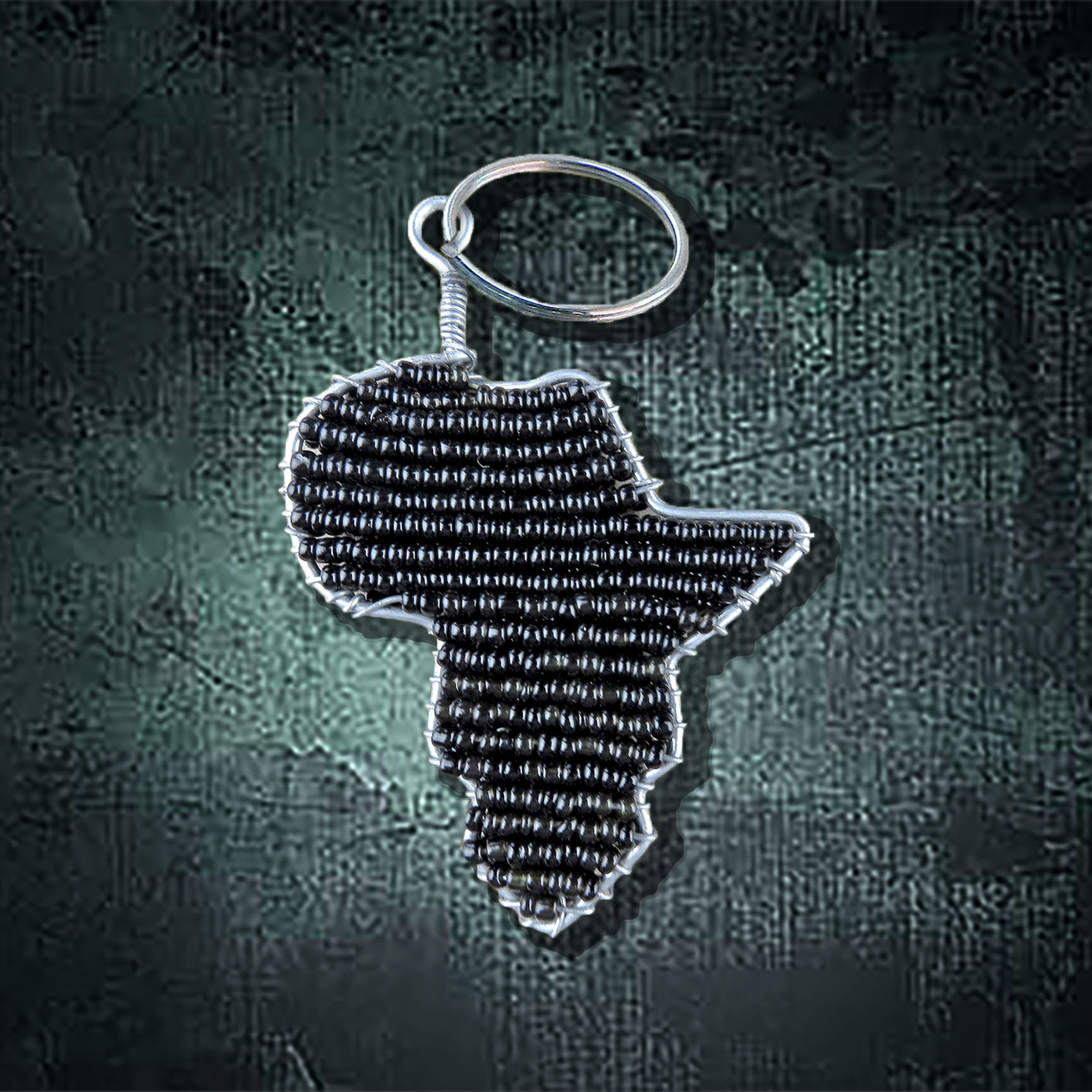 K3 African Beaded Keyring Africa Map