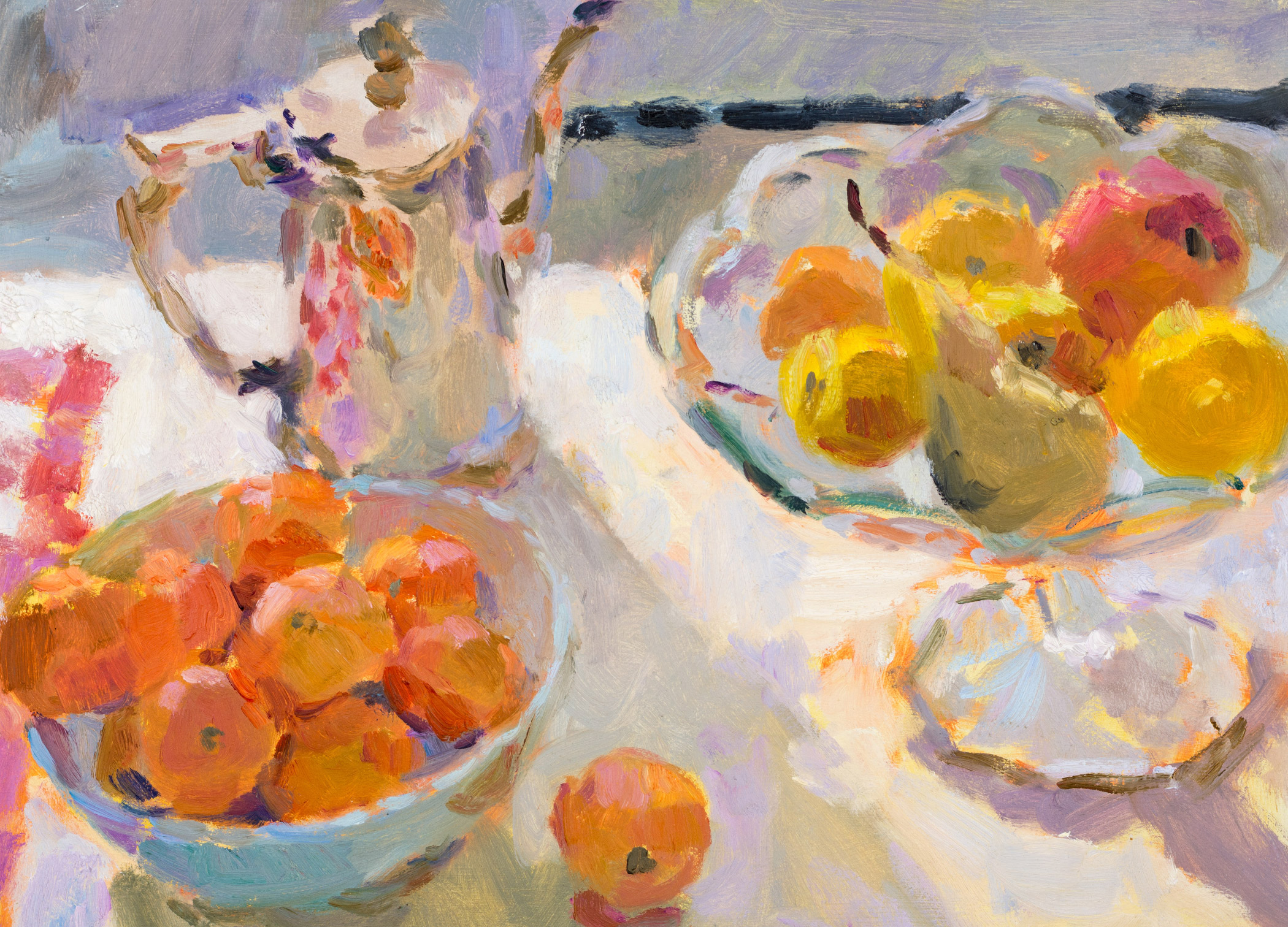 Still Life with Apricots, Pear and Coffee Pot