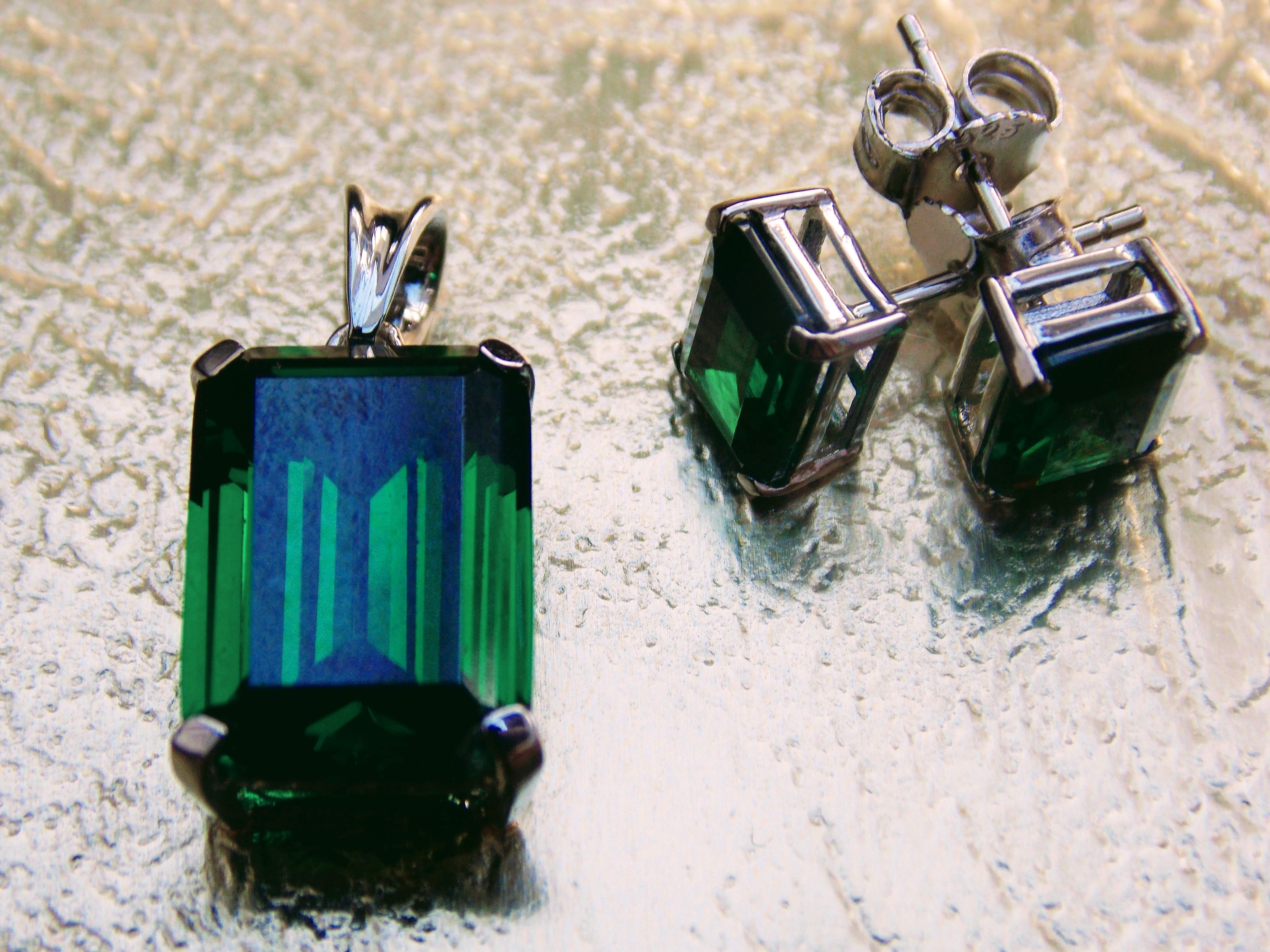Genuine Square Cut Emeralds, Earrings and Pendant (set)