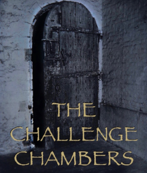 LOGO for the Challenge Chambers escape room game showing an old wooden door leading into a whitewashed brick-built room