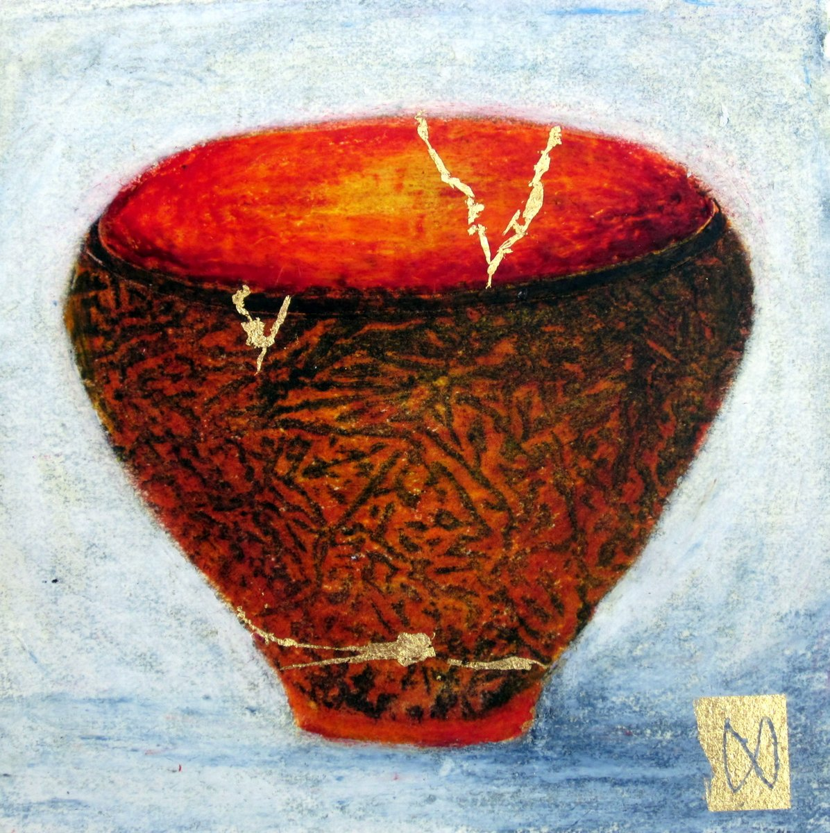 painting of Japanese kintsugi tea bowl with gold by Irish artist orange