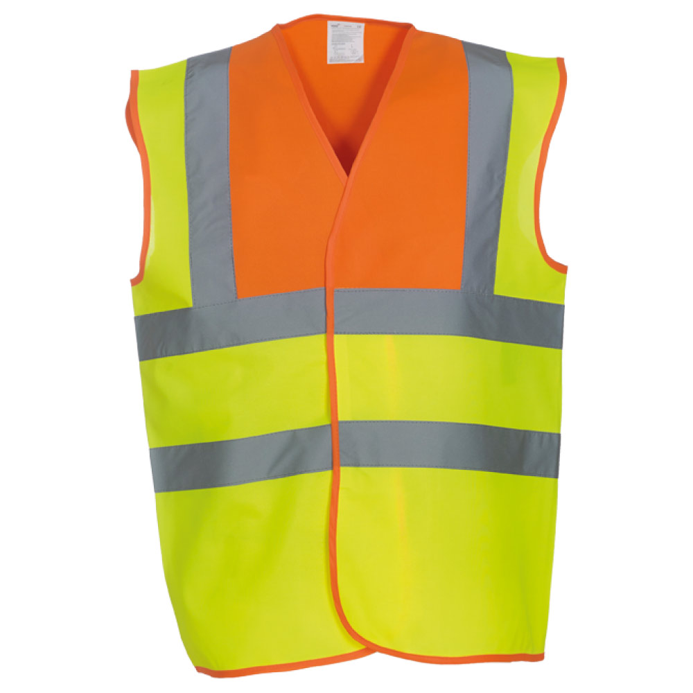 Orange Yoke & Yellow Hi Vis Safety Vests