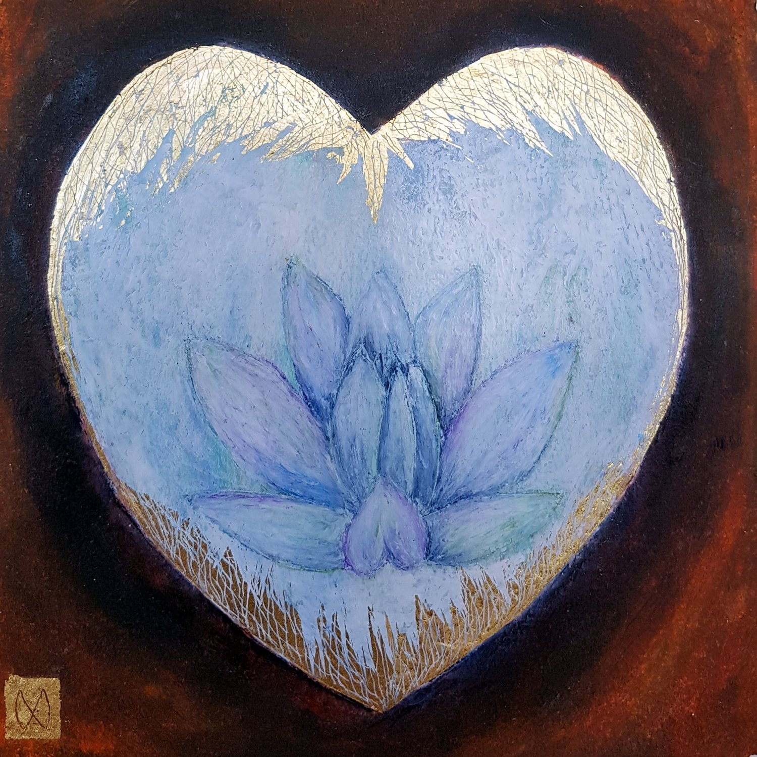 Lotus flower on heart shape with gold, gold leaf white blue aqua on burnt orange umber