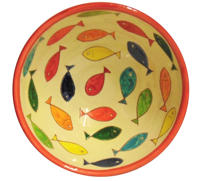 Red appetiser bowl from the Coloured Fish Range of Spanish Ceramics